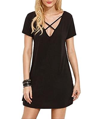 Haola Women's Cross Front Deep V Neck Mini Dress Short Sleeve Casual T-Shirt Dress