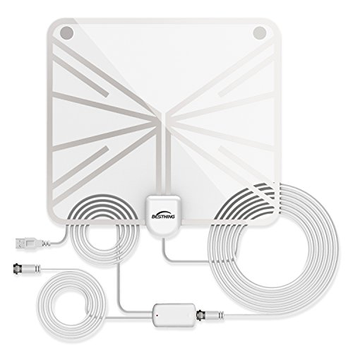 TV Antenna, Indoor Amplified HDTV Antenna 50 Mile Range with Detachable Amplifier Signal Booster and 16.5FT High Performance Coax Cable, Upgraded Version Better Reception-White