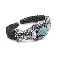Sterling Silver Multi-Gemstone Black Leather Cuff Bracelet - Large from Relios