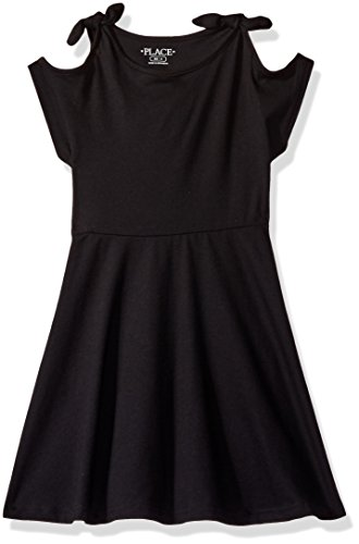 The Children's Place Little Girls' Solid Cold Shoulder Dress, Black, XS (4)