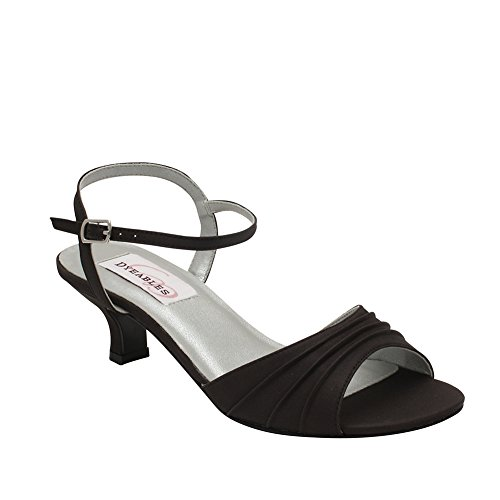 Dyeables Women's Brielle Ankle-Strap Sandal,Black Satin,12 M US