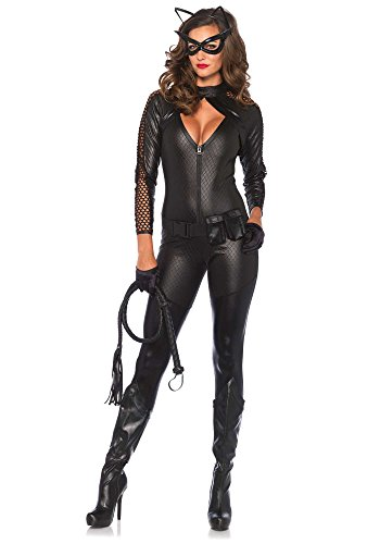 [Leg Avenue Women's 4 Piece Wicked Kitty Costume, Black, Medium] (Sexy Cat Costumes For Women)