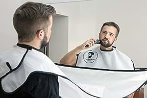 Beard Bib White Shaving Grooming Apron Hair Catcher Gift for Men - UK Seller by The Beard Cape Company