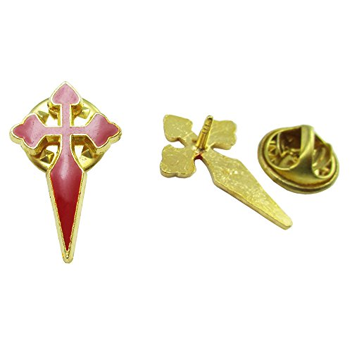 100pcs of Gold Plated Red Catholic Saint James Crusader Crucifix Cross Brooches Lapel Pins