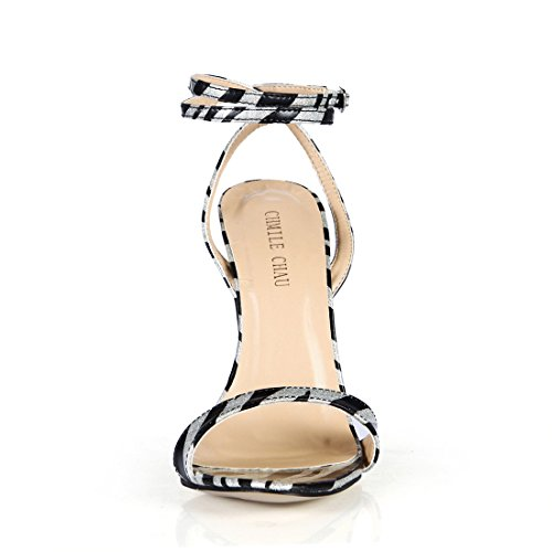 da Spillo Alto alla Sandali Sexy CHAU a Tacco Argento Tacco Cinturino Nero Caviglia Partito Moda CHMILE Donna Metallo Scarpe a E YSwEax88q