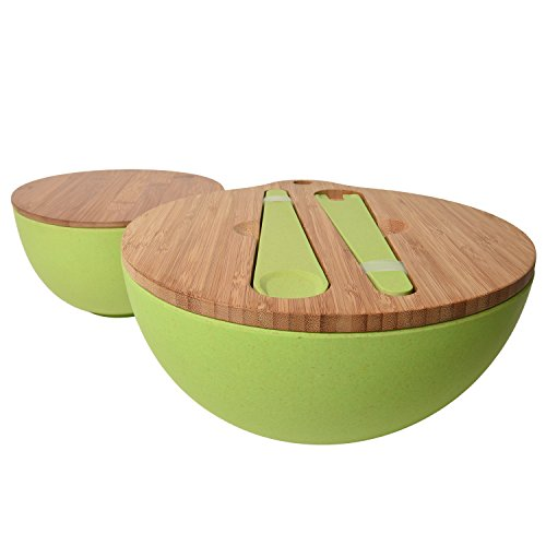 Bamboo Salad Bowl Bamboo-Fiber Bowl Set with Lids & Inset Utensils – Lids Double As Cutting Boards – Smaller Bowl Nests Perfectly Inside Larger for Easy Storage