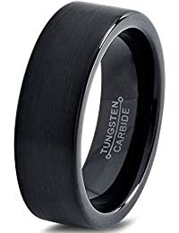 Tungsten Wedding Band Ring 6mm for Men Women Comfort Fit Black Enamel Pipe Cut Brushed