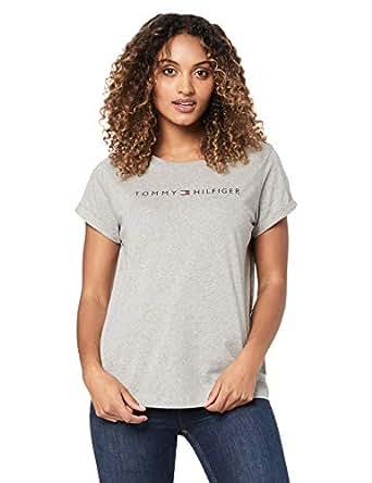TOMMY HILFIGER Women's Logo Cotton Jersey T-Shirt, Grey Heather, XS
