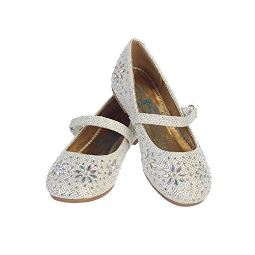 Girls Rhinestone Flats With Strap (13 M US Little Kid, Ivory)