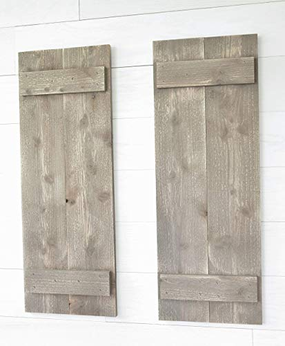 Rustic Barnwood Farmhouse Style Wood Shutters Set Of Two 30quot x 11quot…
