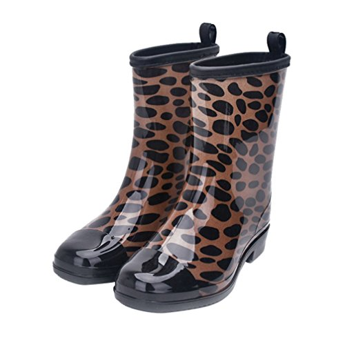 Kontai Women Half Calf Rubber Rainboots Floral Printed Waterproof Rubber For Garden Women Rain Footwear Size 9