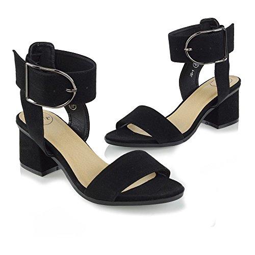 Essex Glam Donna Sandali Con Tacco Basso Cinturino Alla Caviglia Fibbia Dettaglio Blocco Tacco Sandali Peep Toe Nero In Finta Pelle Scamosciata