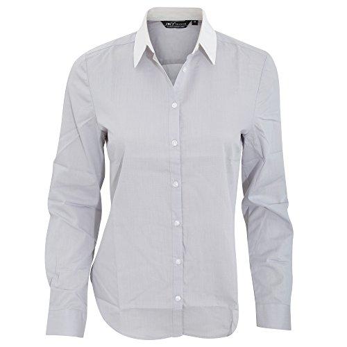 "SOLS - Camisa de popelín de manga larga en contraste modelo ""Belmont"" para mujer. Gris Perla"