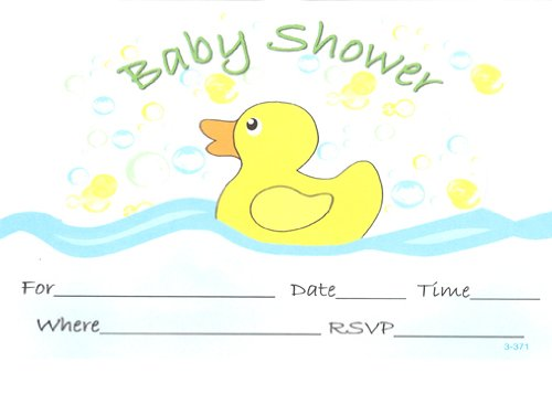 Bubble Ducky Baby Shower Invitations, Fill-In Style, 8 Pack ()