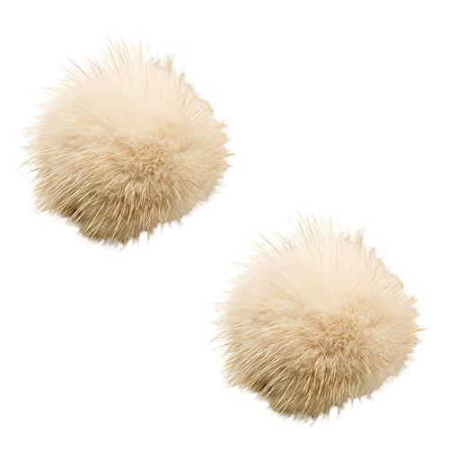 Fur Clip Dress - ZAKIA Women' Fluffy Mink Fur Pom Removable Shoe Clips Clutch Wedding Decoration Pack of 2 (Beige)
