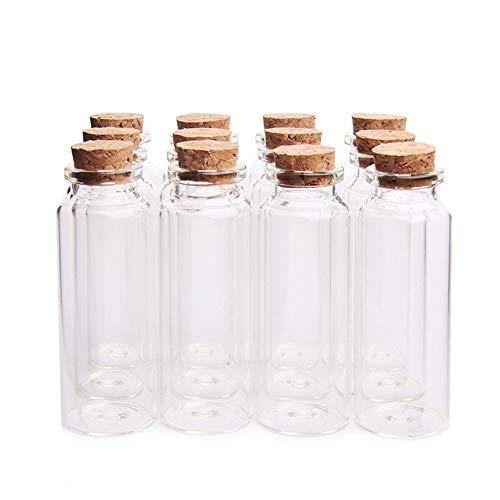 "Danmu 12Pcs 40ml 1.18"" x 3.14"" Mini Glass Bottles, Mini Bottles, Mini Vials, Jars with Wood Cork Stoppers, Tiny Vials, Wish Bottles, Message Bottles for Wedding Favors, Baby Shower Favors, DIY Craft"