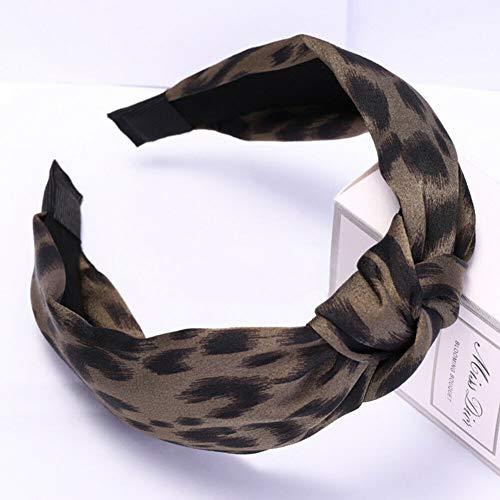 Satin Leopard Print Headband Turban Faux Silk Hair Band Hoop Twist Knot Headwear (StyleID - Green 3#)