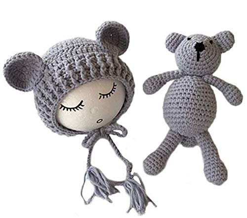 Sushine Newborn Baby Bear Hat Beanie with Bear Dolls Photography Prop Accessories (Gray)