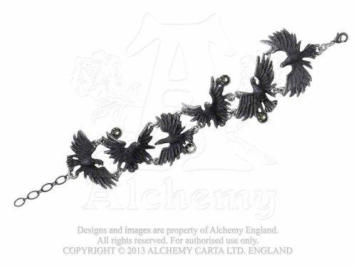 Alchemy Gothic A101 - Flocking Ravens -Bracelet (Bracelet Ravens Skull)