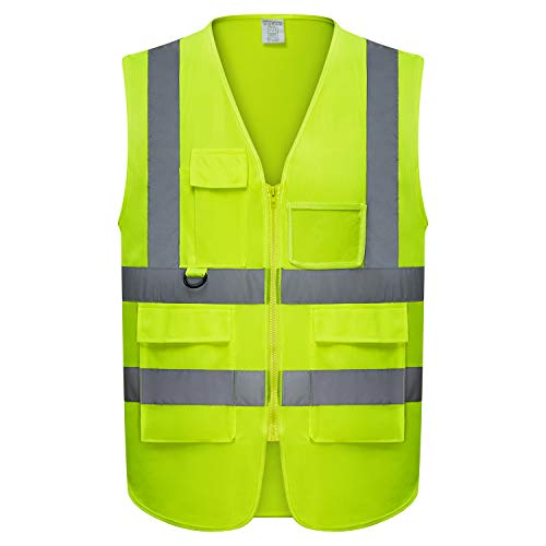 Safety Vest | 5 Pockets | High Visibility Reflective Strips | Color Neon Yellow (L) (Fluorescent Lime Safety Vest)