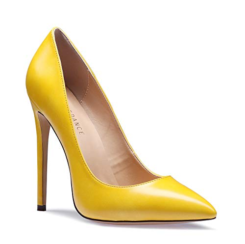 SUNETEDANCE Women's Slip-on Pumps High Heels Pointy Toe Sexy Elegant Stiletto Heels 12CM Heel Shoes Pu Yellow Pump 13 M US