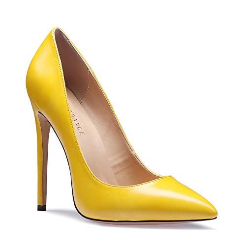 SUNETEDANCE Women's Slip-on Pumps High Heels Pointy Toe Sexy Elegant Stiletto Heels 12CM Heel Shoes Pu Yellow Pump 8 M US