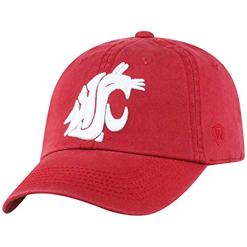 (Washington State Cougars WSU Hat NCAA Top of the World Crew Adjustable Relaxed Fit Cap Cardinal Red)