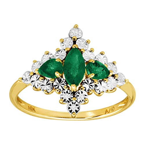 - 5/8 ct Natural Emerald Quatrefoil Ring with Diamonds in 10K Gold