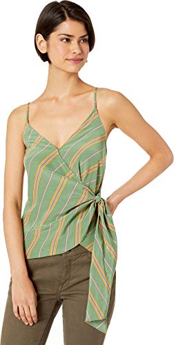 ASTR the label Women's Landon Sleeveless Wrap Tie Front Tank Top, Emerald Stripe, L