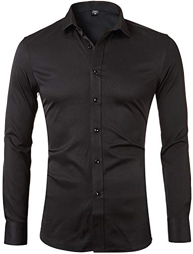Mens Bamboo Fiber Dress Shirts Slim Fit Solid Long Sleeve Casual Button Down Shirts Elastic Formal Shirts for MenBlack Shirts 15″Neck 33″Sleeve