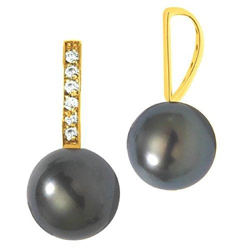 HERA - Pendentif Perle de Tahiti et Diamants - Or 18 carat - Poids du diamant: 0.06 carat - Diamètre de la perle: 7 à 8 mm - www.diamants-perles.com