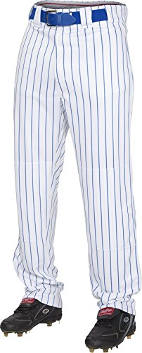 (Rawlings Youth Semi-Relaxed Pants with Pin Stripe Design, X-Large, White/Royal)