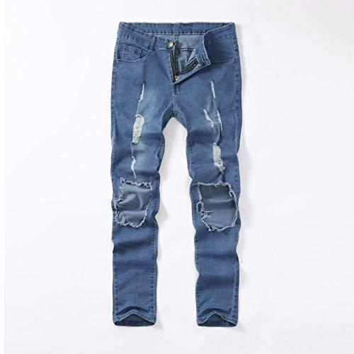 Jeans Blau Vestibilità Attillata Con Strappata Marca Da Uomo Stretch Skinny Pantalone Di Mode Strappati Bolawoo UqB58