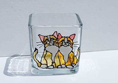 Kitty Cats Stained Glass Square Hand Painted Candle Holder