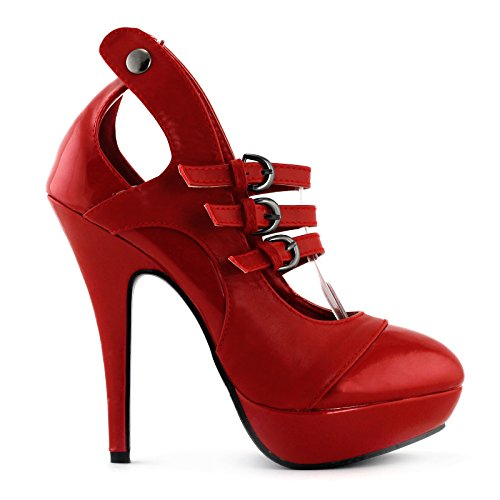 SHOW STORY Glam Mary Jane Red Vintage Stylish Cut-Out Heels Women,LF30464RD40,9US,Red by SHOW STORY