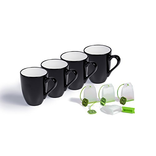 Ovenex 16 Oz Ceramic Mugs - 4 Pack (Midnight Black) (Ceramic Cookware Xtrema compare prices)