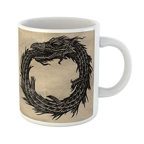 Semtomn Funny Coffee Mug Ages Snake Uroboros Alchemy Animals Black Book Cells Conveyor 11 Oz Ceramic Coffee Mugs Tea Cup Best Gift Or - Light Uroboros