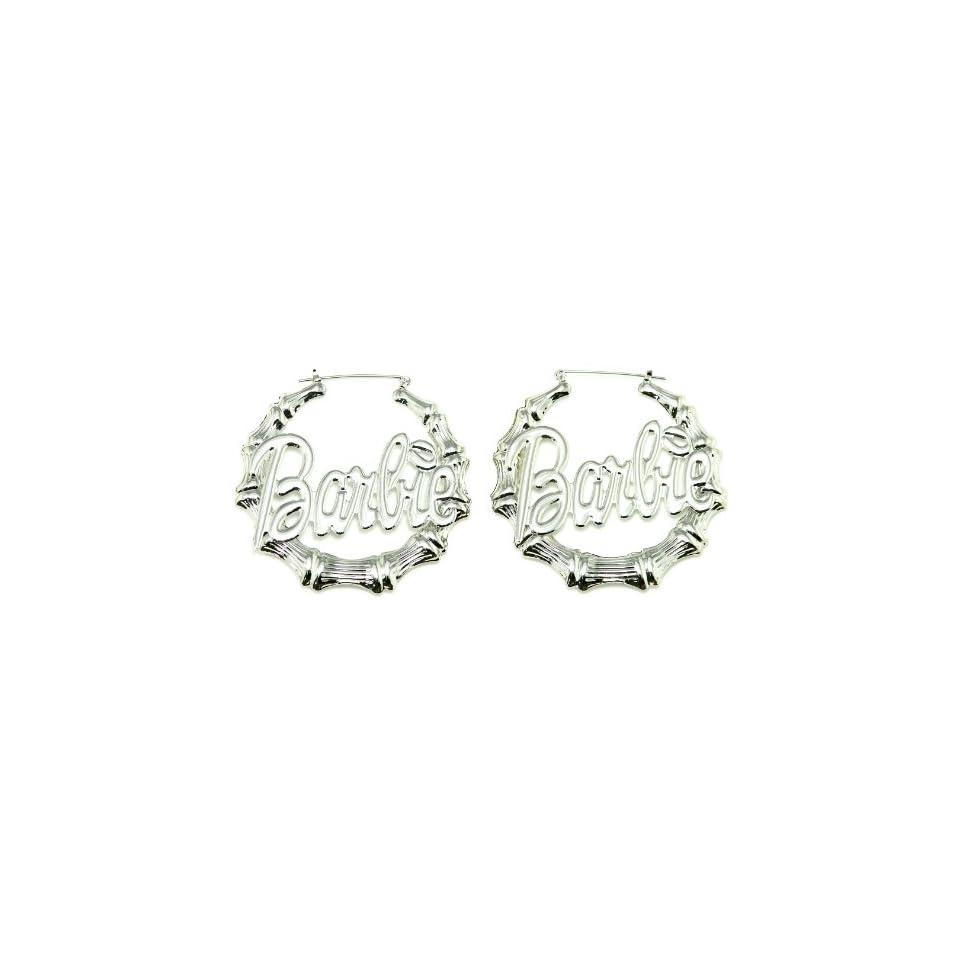 NICKI MINAJ BARBIE Hollow Bamboo Pincatch Earrings Silver