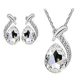 Women's Silver Plated Crystal Rhinestone Jewelry Set