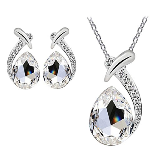 Nobio Women's Shiny Crystal Rhinestone Silver Plated Pendent Chain Necklace Stud Earring Costume Fashion Jewelry Set (White)