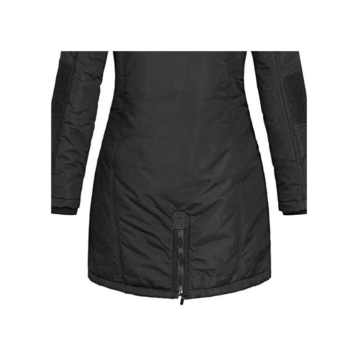 41jIb5DMJFL Abrigo para mujer con diseño atractivo y características funcionales. Corte: estándar, con corte entallado. Material exterior: 100% poliéster, forro/relleno: 100% poliéster, pelo sintético: 80% poliacrílico, 20% poliéster.