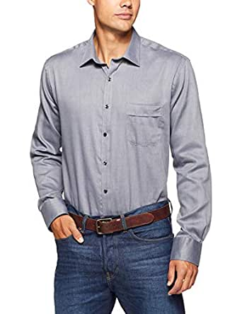 Van Heusen Men's Classic Relaxed Fit Shirt Herringbone, Charcoal Black, 37