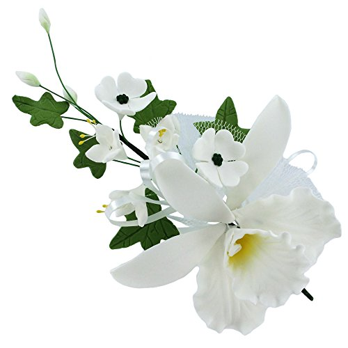 Cattleya Orchid Spray, White, 1 Count by Chef Alan Tetreault