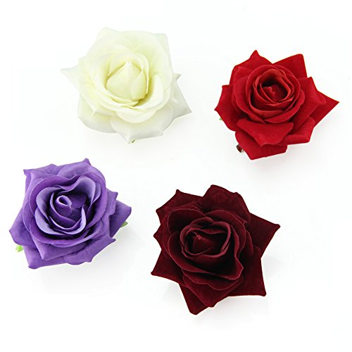 QtGirl Fabric Rose Hair Clips Flower Brooch for Women Teens at Party Ball Wedding
