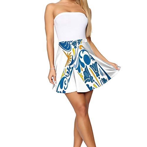 Women's Short Skirt Flared Casual Mini Skater Skirt,Nature Inspired Arrangement Flowers Leaves European Style Letter Print M