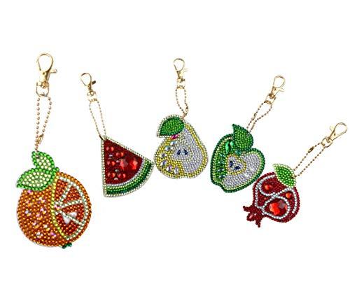 SuperDecor DIY Diamond Painting Keychain 5D Mosaic Making Full Drill Special Shape Diamond Painting Pendant for Art Craft Key Ring Phone Charm Bag Decor, Fruits