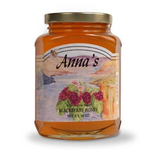 Gourmet Blackberry Honey, 18 oz Elegant Glass Jar - Natural, Raw Honey - by Anna's Honey (Pack of (Annas Honey)
