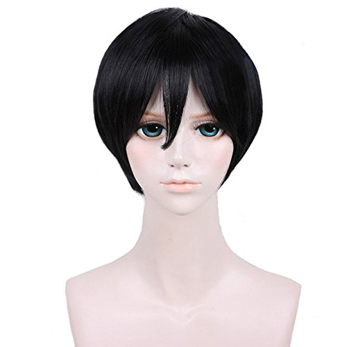 RightOn Unisex Short Straight Wigs for Cosplay Party DIY Styling Fun Wigs with Hairnet (Black)