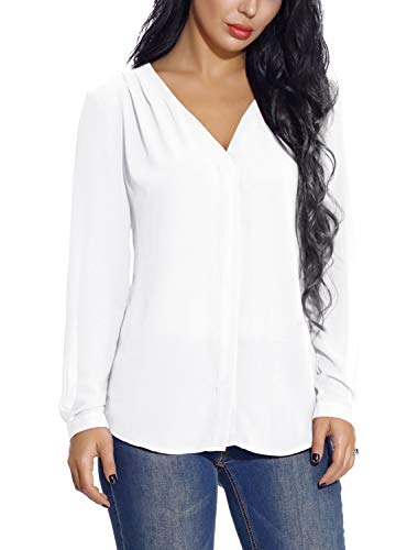 (EXCHIC Women's Casual V-Neck Chiffon Blouse Solid Long Sleeve Top Shirt (XL, White) )