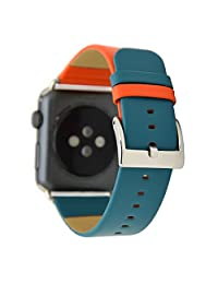 TCSHOW For Apple Watch Band 42mm,42mm Genuine Corium Leather Dual Tone Replacement Strap Wrist Band with Silver Metal Adapter for both Series 1 and Series 2
